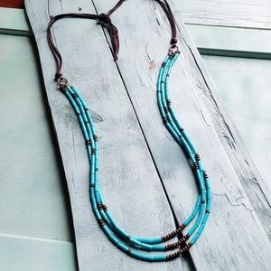 Jewelry - Triple Strand Turquoise & Wood Necklace 36 Inches